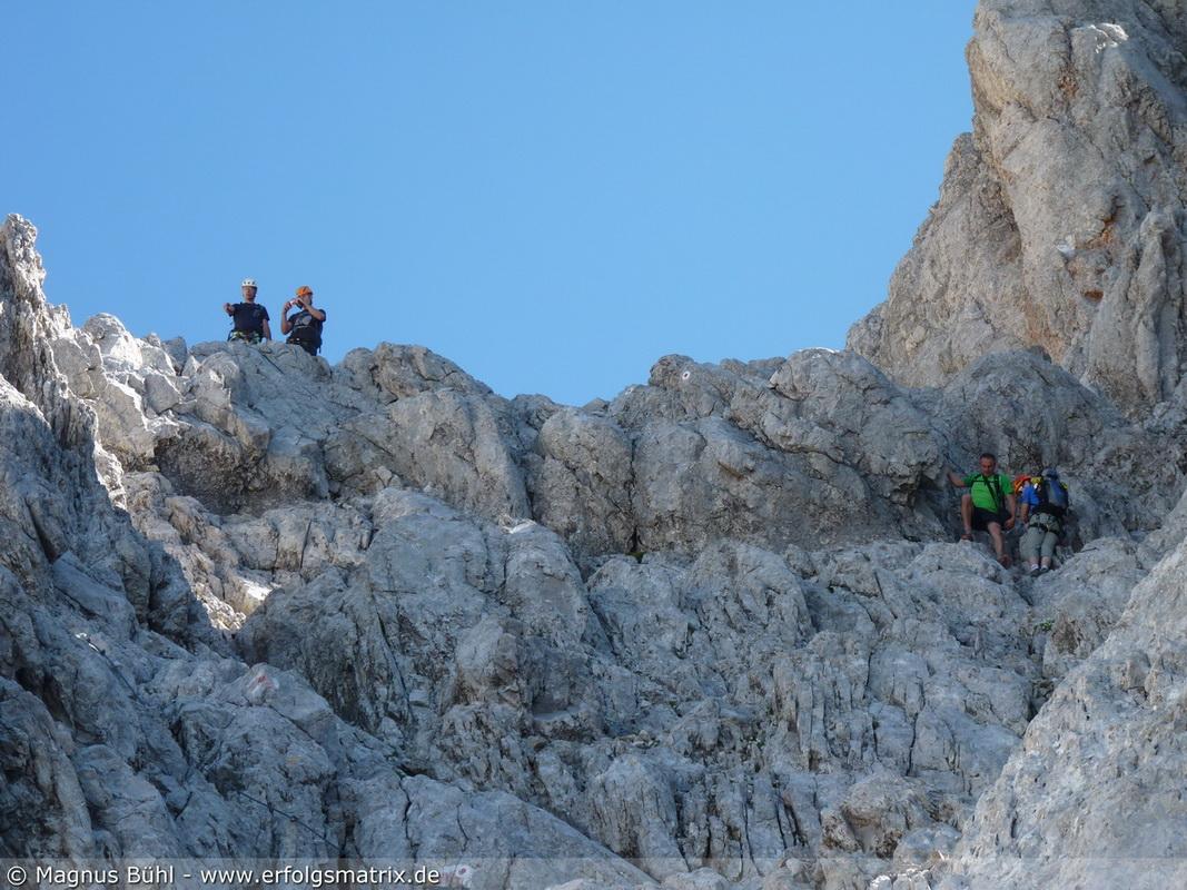 Abstieg vom Südgipfel ins Wimbachgries .. steil, brüchig und anstrengend