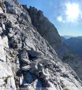 Watzmann-Überschreitung am 01. August 2013 – diese Stelle ist ungesichert und etwas ausgesetzt, sonst alles im B-Bereich Klettersteig