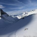 Rappenseehütte im Winter - Aufstieg am Rappensee entlang