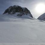 Rappenseehütte im Winter - Aufstieg mit Blick Richtung Hochgundspitze