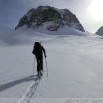 Rappenseehütte im Winter - Magnus im Aufstieg zur Großen Steinscharte