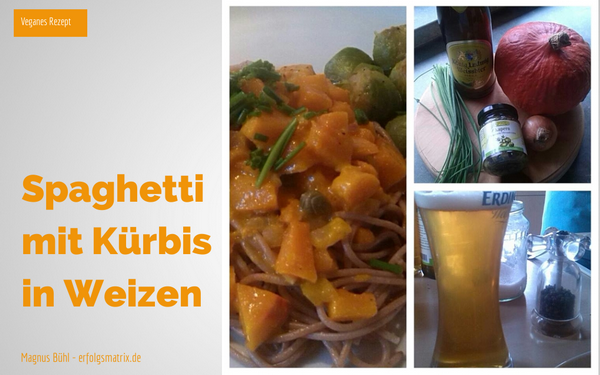 Spaghetti mit Kürbis in Weizenbier