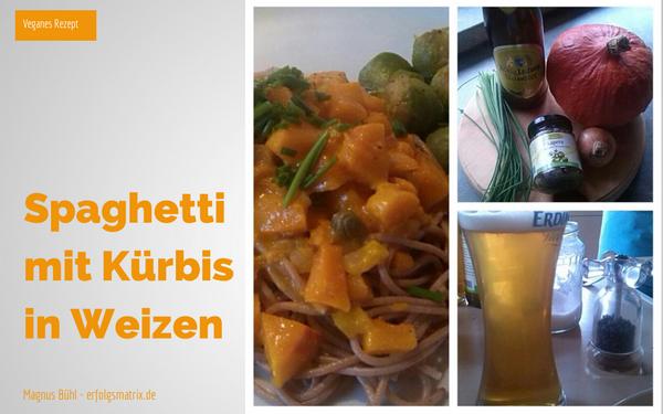 Spaghetti mit Kürbis in Weizenbier