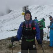 Zugspitz Ultratrail - Magnus Bühl am Scharnitzjoch (2.048m) im Juni-Schnee