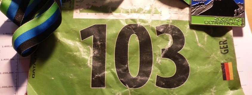Zugspitz Ultratrail - Startnummer 103 mit Medaille